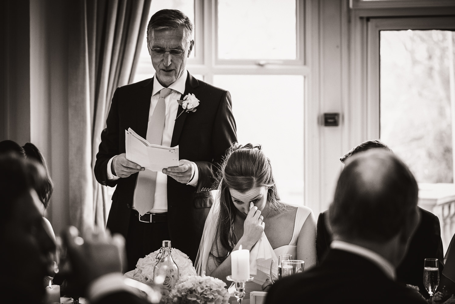 bride crying during the fathers speech