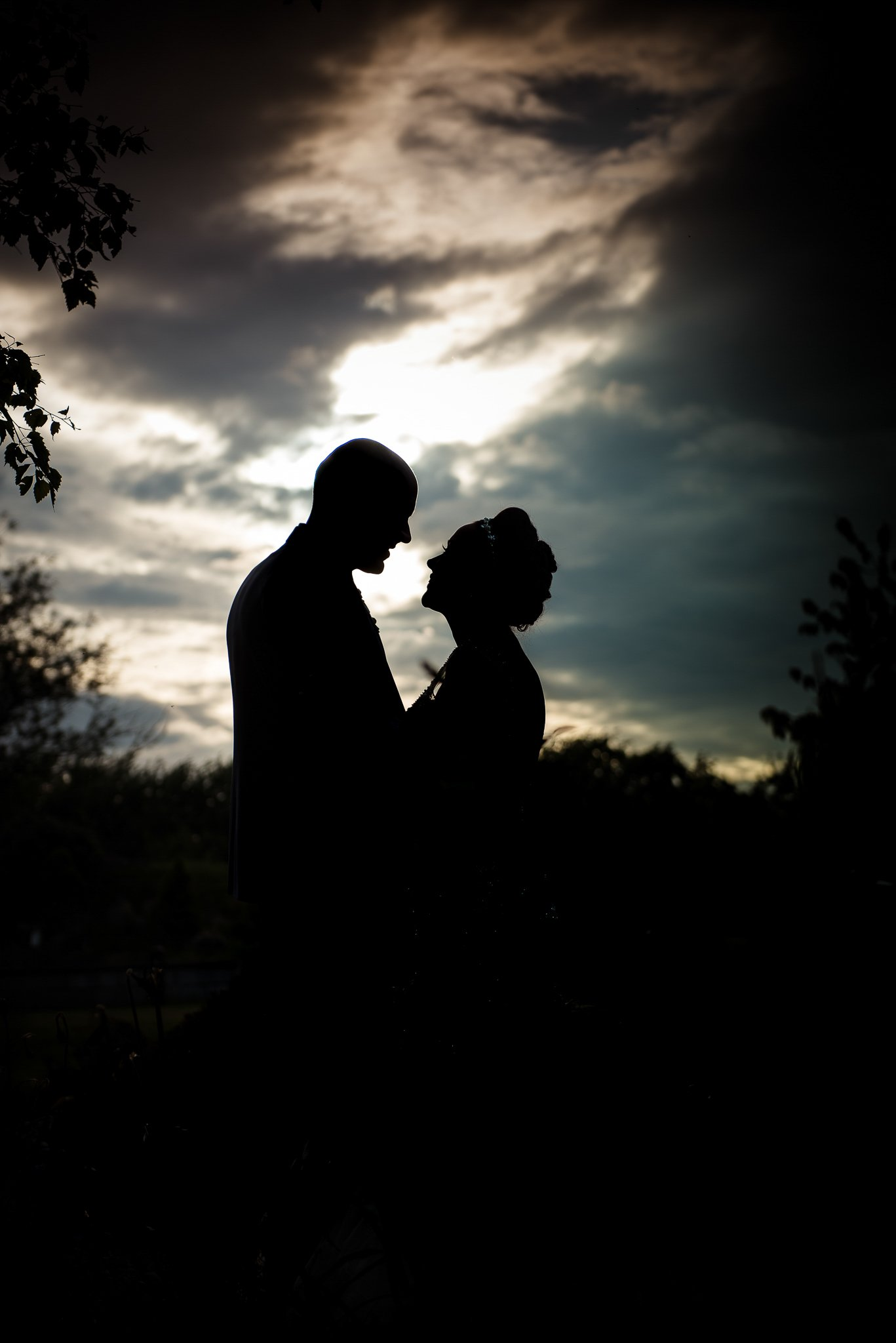 bride and groom silhouette photograph