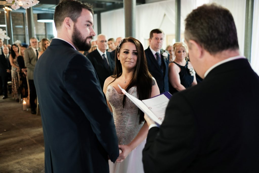 bride and groom during the ceremony