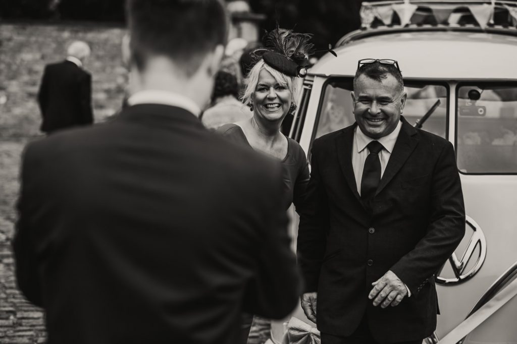 Wedding guests arriving at meols hall