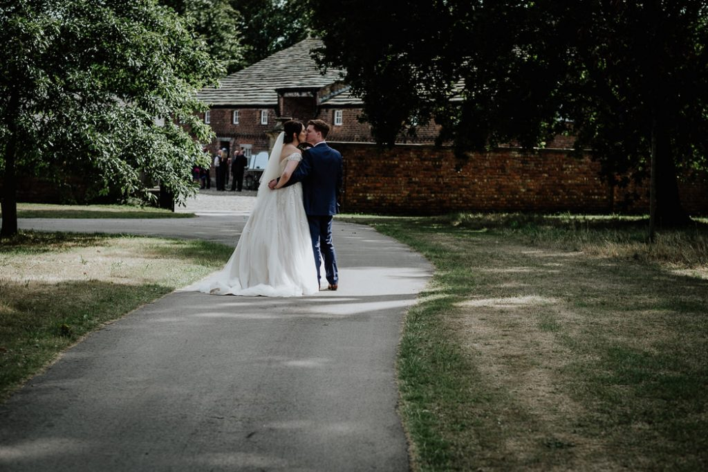 bride and groom during their photoshoot at Meols Hall